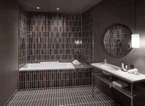 Luxury boutique hotel's industrial-chic bathrooms could inspire a modern domestic setting