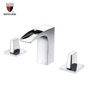 HIMARK Modern Chrome Widespread Bathroom Sink Waterfall Faucet