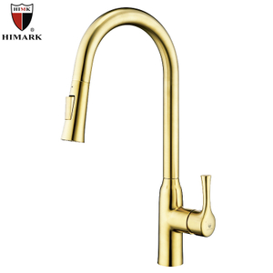 HIMARK Brushed Gold Pull Down Kitchen Sink Faucet