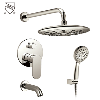 HIMARK brushed nickel three function bathroom concealed rain shower faucet